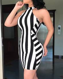 ivrose Halter Striped Bodycon Mini Dress