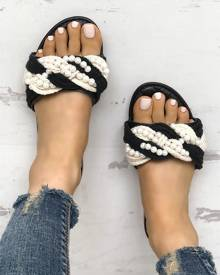 5bbb009c4da ivrose Shiny Embellished Single Strap Flat Sandals