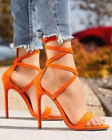ivrose Solid Strappy Open Toe Heel Sandals
