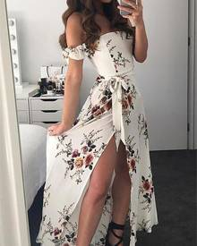 ivrose Sexy Floral Off Shoulder Side Slit Maxi Dress