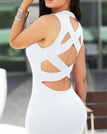 ivrose Alluring Bandage Cut Out Back Bodycon Dress