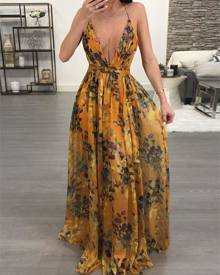ivrose Floral Print Pleated Backless Slip Maxi Dress