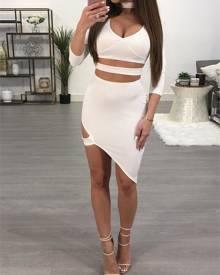 ivrose Choker Cut Out Irregular Bodycon Dress