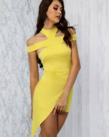 ivrose Solid Cut Out Irregular Bodycon Dress