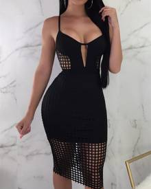 ivrose Solid See Through Hollow Out Bodycon Dress