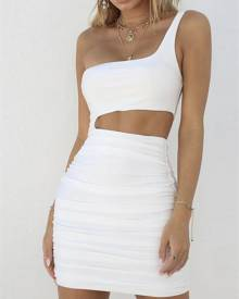 ivrose Sexy One Shoulder Cut Out Bodycon Dress