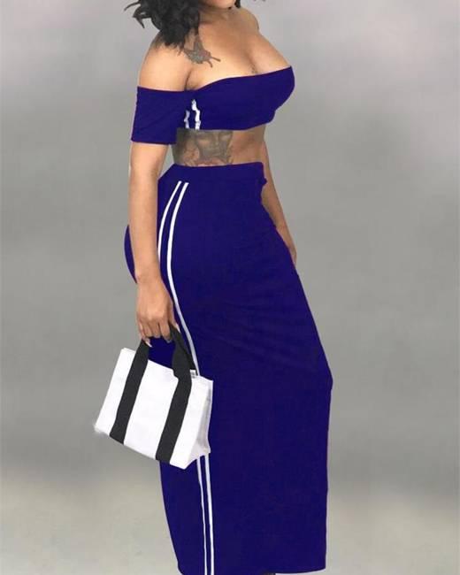 Solid Stripes Side Bandeau Top & Skirt Sets