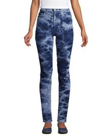 lands end High Waisted Slim Ankle Jeans, Women, Size: 8 Regular, Blue, Spandex, by Lands' End