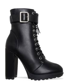 Simmi London Jade Black Lace Up Platform Block Heel Ankle Boots