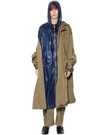 JUUN.J HOODED NYLON LAYERED PARKA COAT