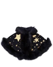 BANDITS GIRL Hooded Stars Print Felt & Faux Fur Cape