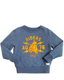AMERICAN OUTFITTERS Riders Flocked Printed Cotton Sweatshirt