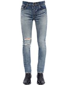 SAINT LAURENT 15CM SKINNY DESTROYED DENIM JEANS