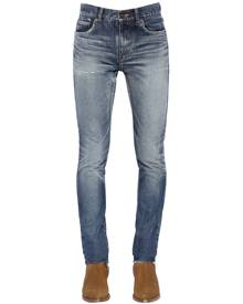 SAINT LAURENT 15CM SKINNY LOW RISE WASHED DENIM JEANS