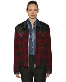 DSQUARED2 Studded Check Wool Shirt Jacket