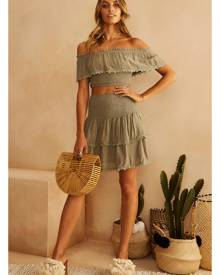 Fortunate One Tumbling Dice Crop Top Olive
