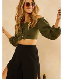 Fortunate One Green With Envy Top Khaki