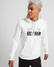 Emporio Armani EA7 Vis Logo Overhead Fleece Hoodie - Only at JD - White/Black - Mens
