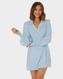 Charlie Holiday Bella Wrap Dress Blue Gingham