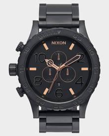Nixon 51-30 Chrono Watch All Black Rose Gold V