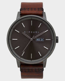 Rip Curl Detroit Leather Watch Gunmetal Gunmetal