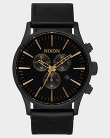 Nixon Sentry Chrono Leather Watch Matte Black Gold
