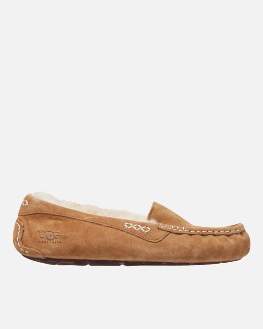 Women's Ansley Moccasin Suede Slippers Chestnut UK 3