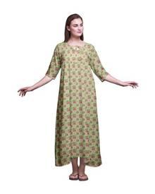 2c03788e6a42e Bimba Floral Monstera Leaf & Womens Long Maxi Nightgowns For Women Cotton  Printed Nightwear Loose Sleepwear