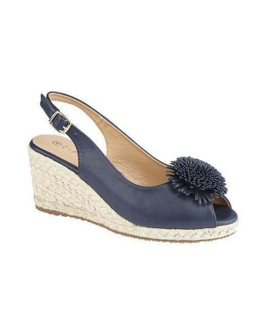 WomensLadies Alessandra Buckle Wedge Heel Sandal (Navy) DF1587