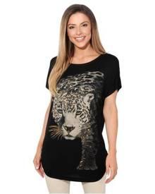 KRISP Womens Loose Batwing T Shirt Animal Tunic Blouse Oversized Long Line Top - Black - Black
