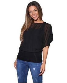 KRISP Womens Oversized Chiffon Blouse Mesh Top Batwing Twin Jersey Vest 2 In 1 Shirt - Black