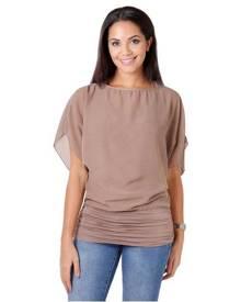 KRISP Womens Oversized Chiffon Blouse Mesh Top Batwing Twin Jersey Vest 2 In 1 Shirt - Mocha