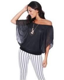 KRISP Womens Oversized Chiffon Mesh Batwing 2 in 1 Necklace Vest Cape Top Blouse Party - Black