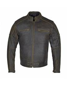 RIDERACT Vintage Distressed Leather Jacket Men Motorcycle Jacket Armored