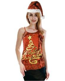 Boutique Retailer Women's Merry Christmas Tree Sequin Singlet Camisole Cami Top