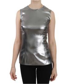 Dolce & Gabbana Silver Tulle Sleeveless Silk Top  Blouse