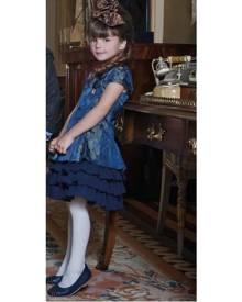 Mini Raxevsky Girl Elegant Ruffle Dress in Blue