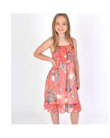 Mini Raxevsky Girls Summer Ruffle Hem Dress in Coral Pink