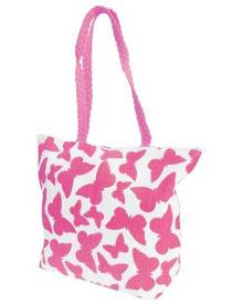 Floso Womens Straw Woven Butterfly Print Top Handle Handbag (White/Fuchsia) - BAG204