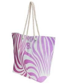 Floso Womens Zebra Stripe Patterned Straw Woven Summer Handbag (White/Pink) - BAG210
