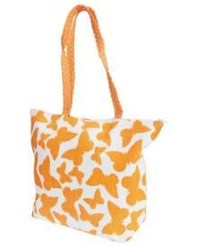 Floso Womens Straw Woven Butterfly Print Top Handle Handbag (White/Orange) - BAG204