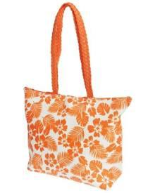 Floso Womens Floral Leaf Pattern Straw Woven Summer Handbag (White/Coral) - BAG205
