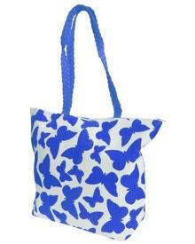 Floso Womens Straw Woven Butterfly Print Top Handle Handbag (White/Blue) - BAG204