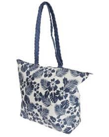 Floso Womens Floral Leaf Pattern Straw Woven Summer Handbag (White/Navy) - BAG205