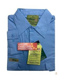 Bisley Mens Insect Protection Repellent Long Sleeve Shirt - Blue