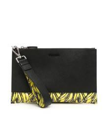 PRADA SAFFIANO POUCH WITH BANANA PRINT OS Black, Yellow Leather