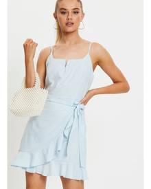 Textured Cotton Ruffle Hem Singlet Dress - Ally Fashion