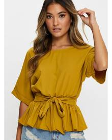 Batwing Sleeve Peplum Top - Ally Fashion