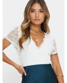 Short Sleeve Lace Jersey V Front Bodysuit - Ally Fashion