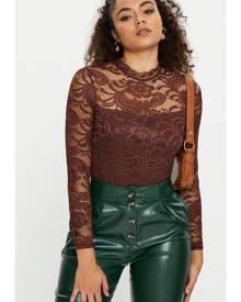 Long Sleeve Lace Bodysuit - Ally Fashion